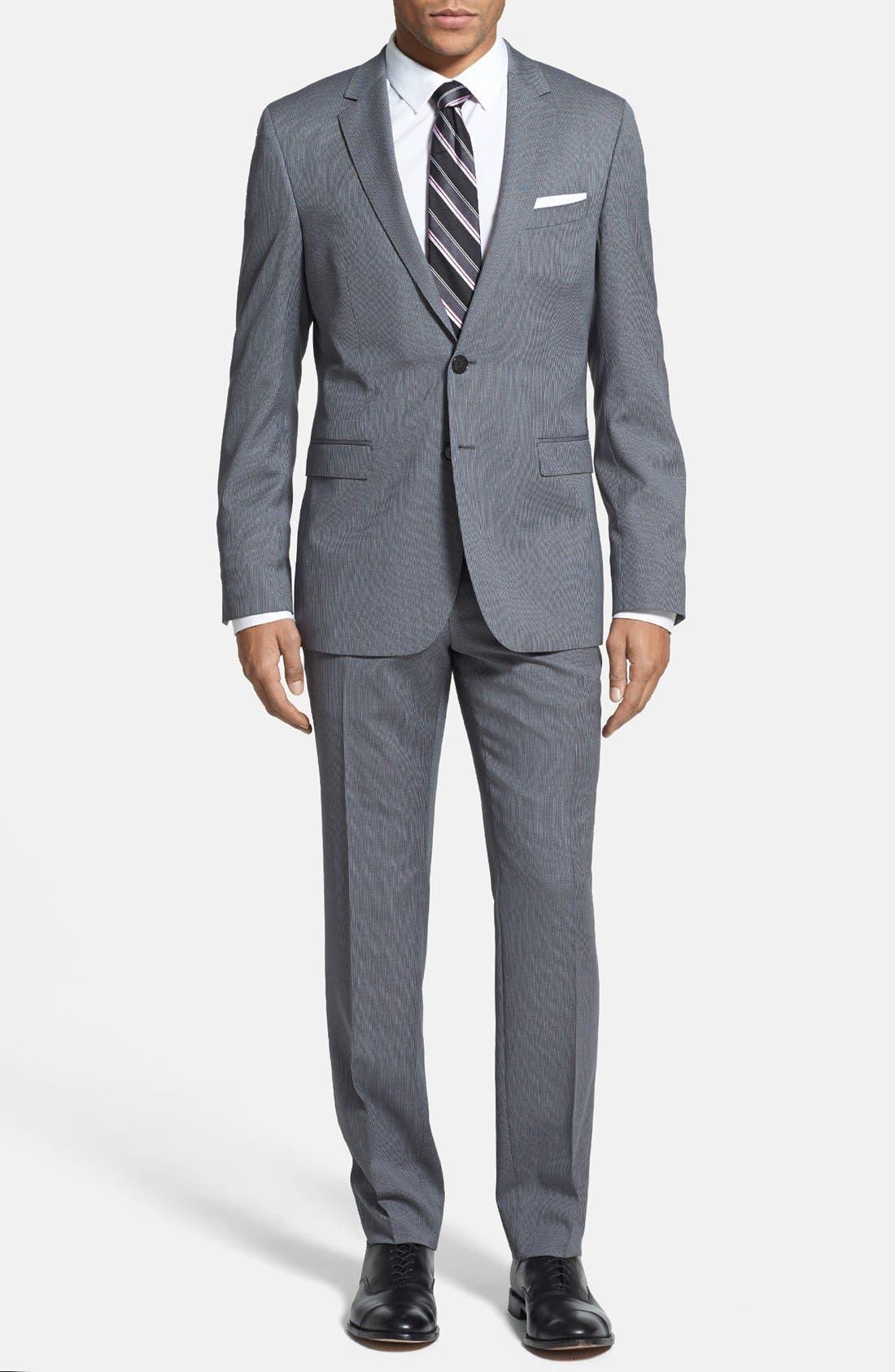 Alternate Image 1 Selected - BOSS HUGO BOSS 'Ryan/Win' Extra Trim Fit Stripe Suit