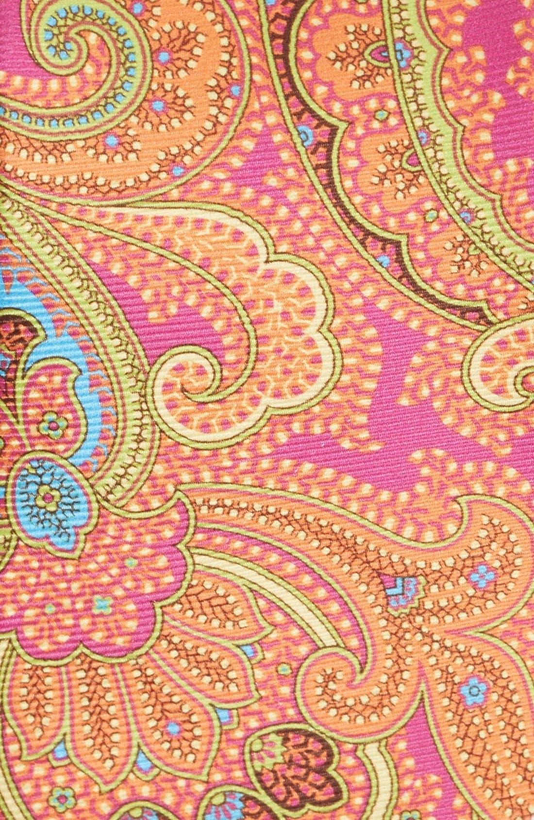 Woven Silk Tie,                             Alternate thumbnail 2, color,                             Fuschia/ Blue