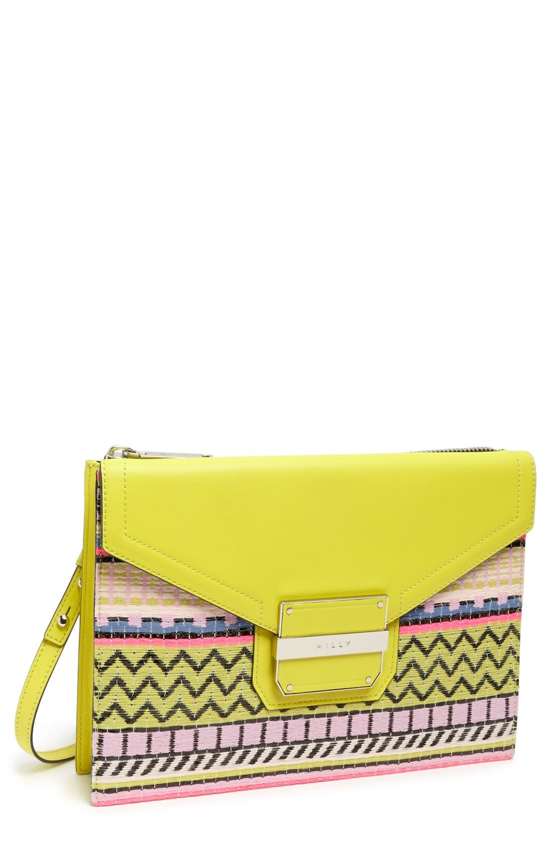 Main Image - Milly 'Rich' Jacquard & Leather Shoulder Bag