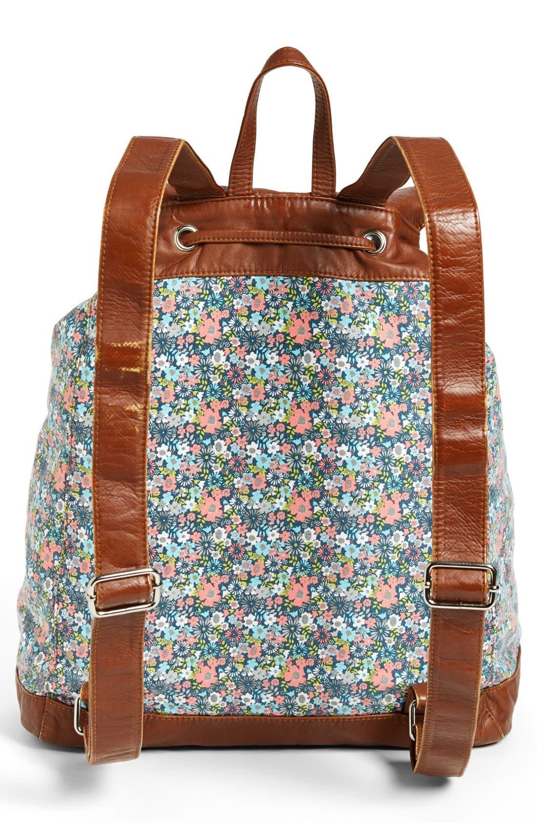 Alternate Image 4  - T-shirt & Jeans Faux Leather Trim Floral Backpack (Juniors)