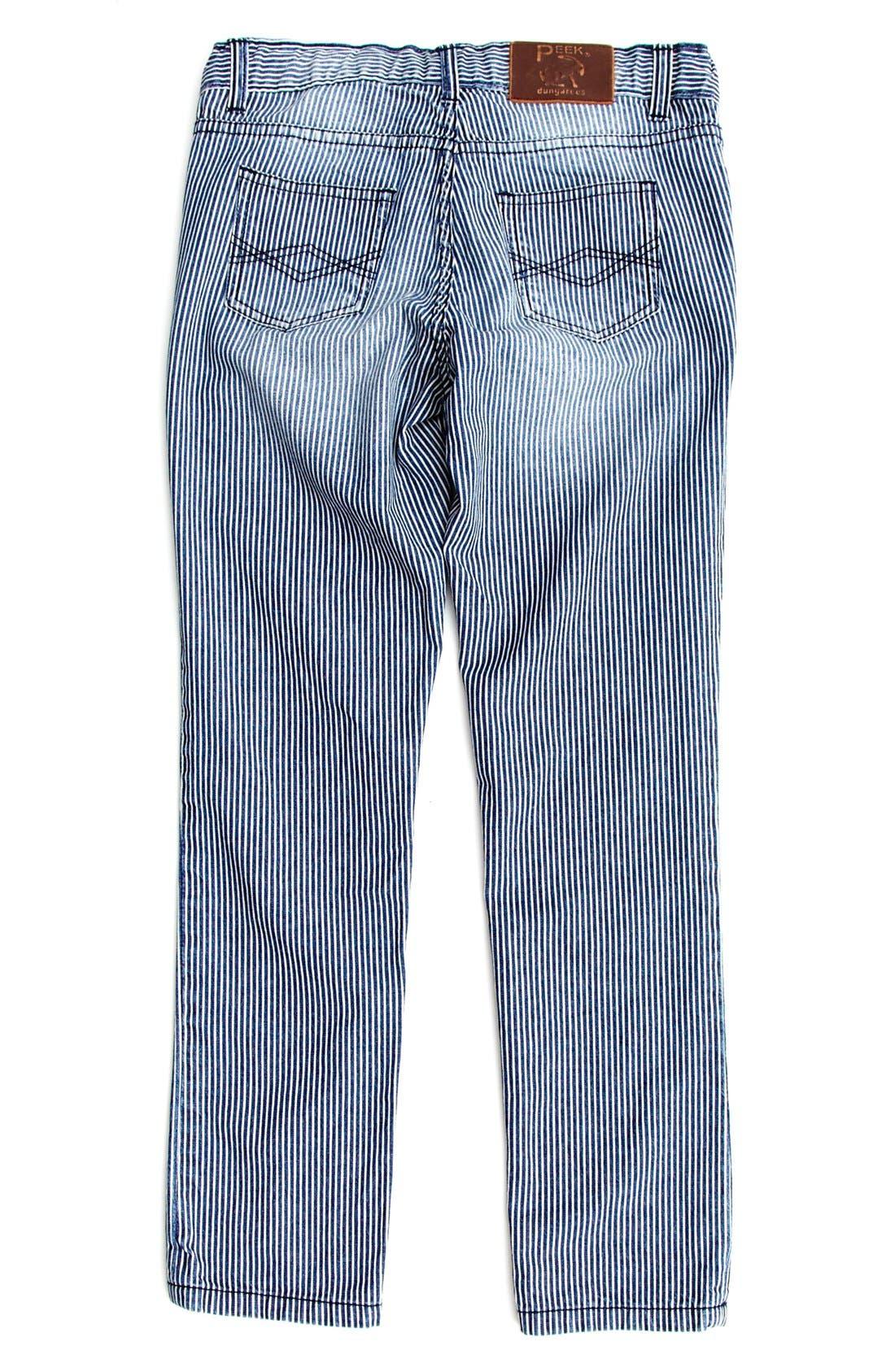Alternate Image 1 Selected - Peek 'Margot' Railroad Stripe Skinny Jeans (Toddler Girls, Little Girls & Big Girls)