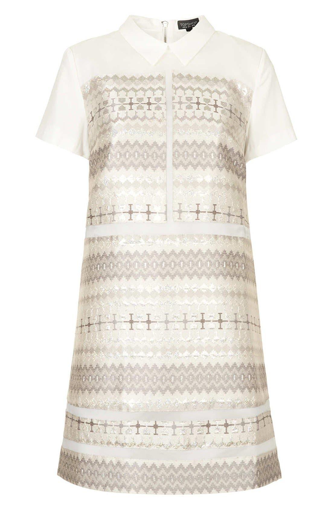 Alternate Image 3  - Topshop Annabel Metallic Jacquard Shift Dress