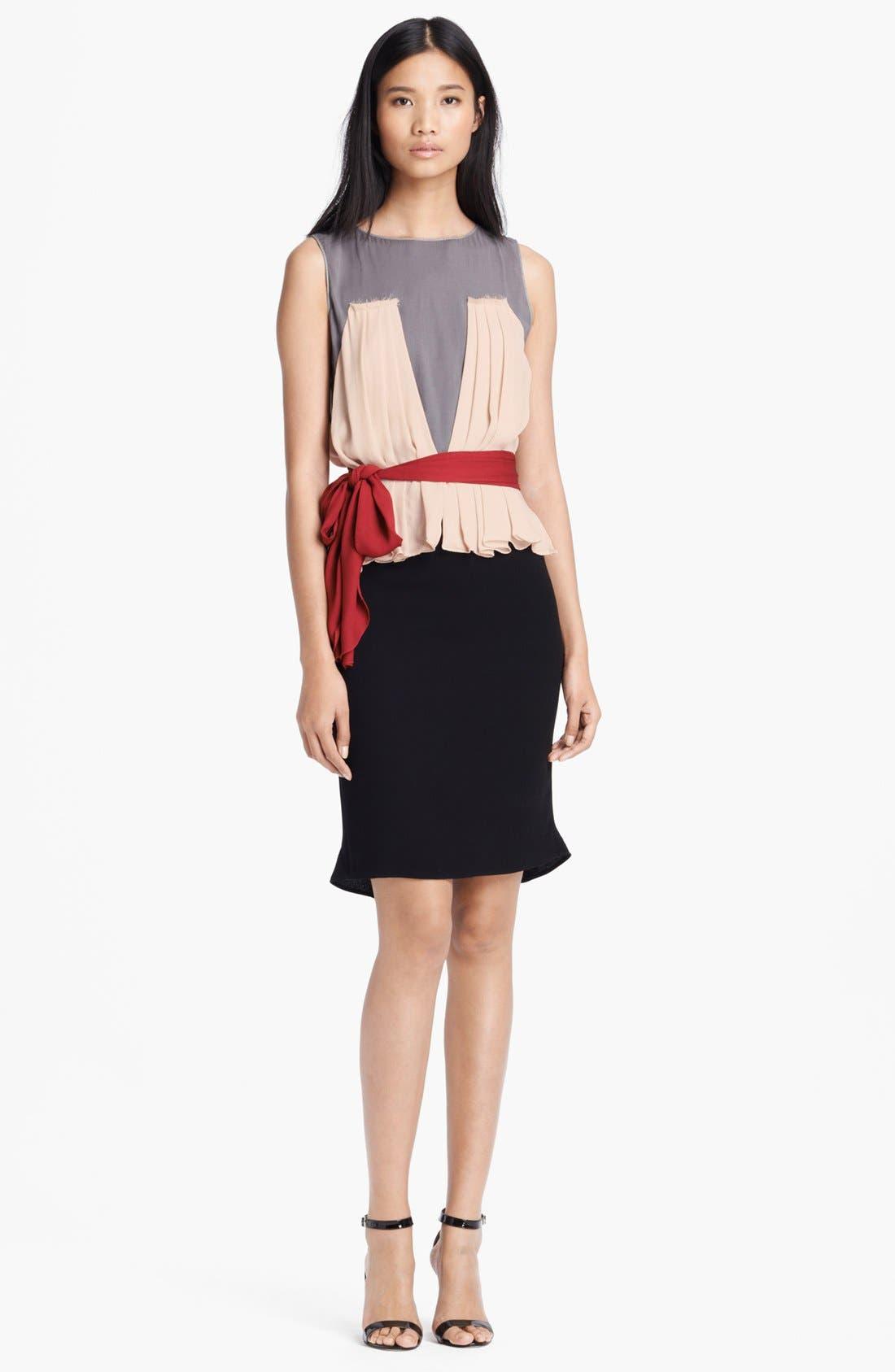 Main Image - L'AGENCE Pleated Silk Dress with Sash