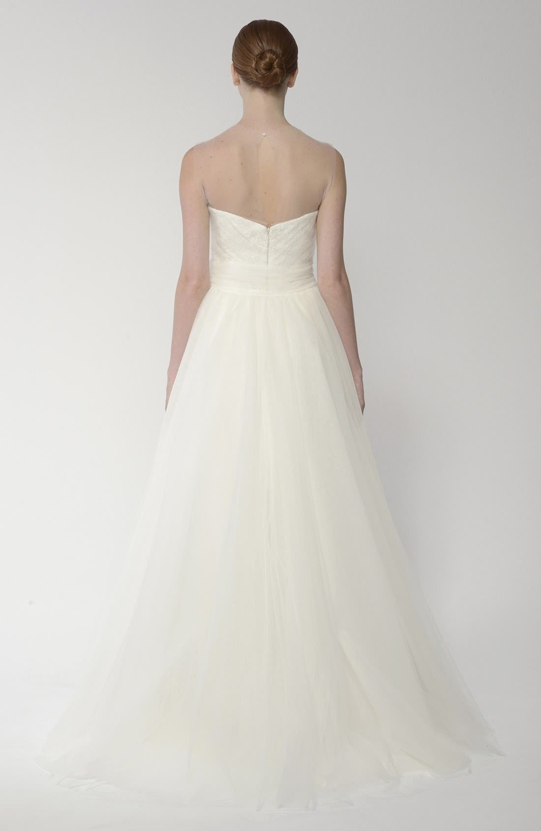 Alternate Image 2  - BLISS Monique Lhuillier Embroidered Lace Gown with Detachable Tulle Overskirt