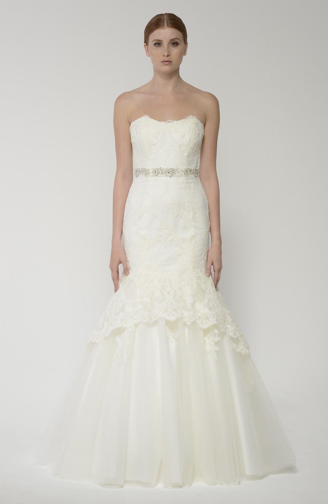 Alternate Image 4  - BLISS Monique Lhuillier Lace Overlay Tulle Trumpet Wedding Dress