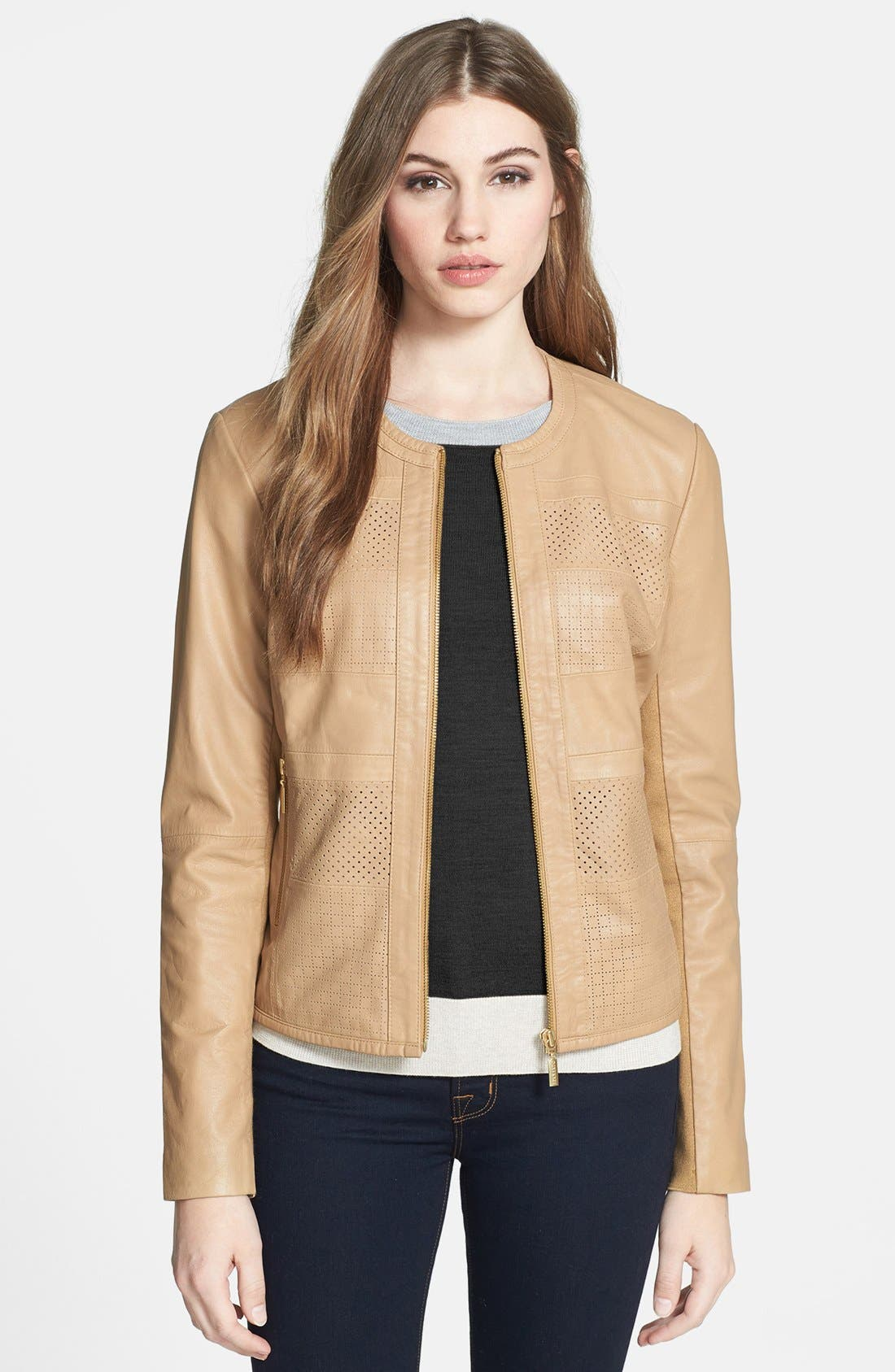 Alternate Image 1 Selected - Bernardo Perforated Leather Jacket (Regular & Petite)