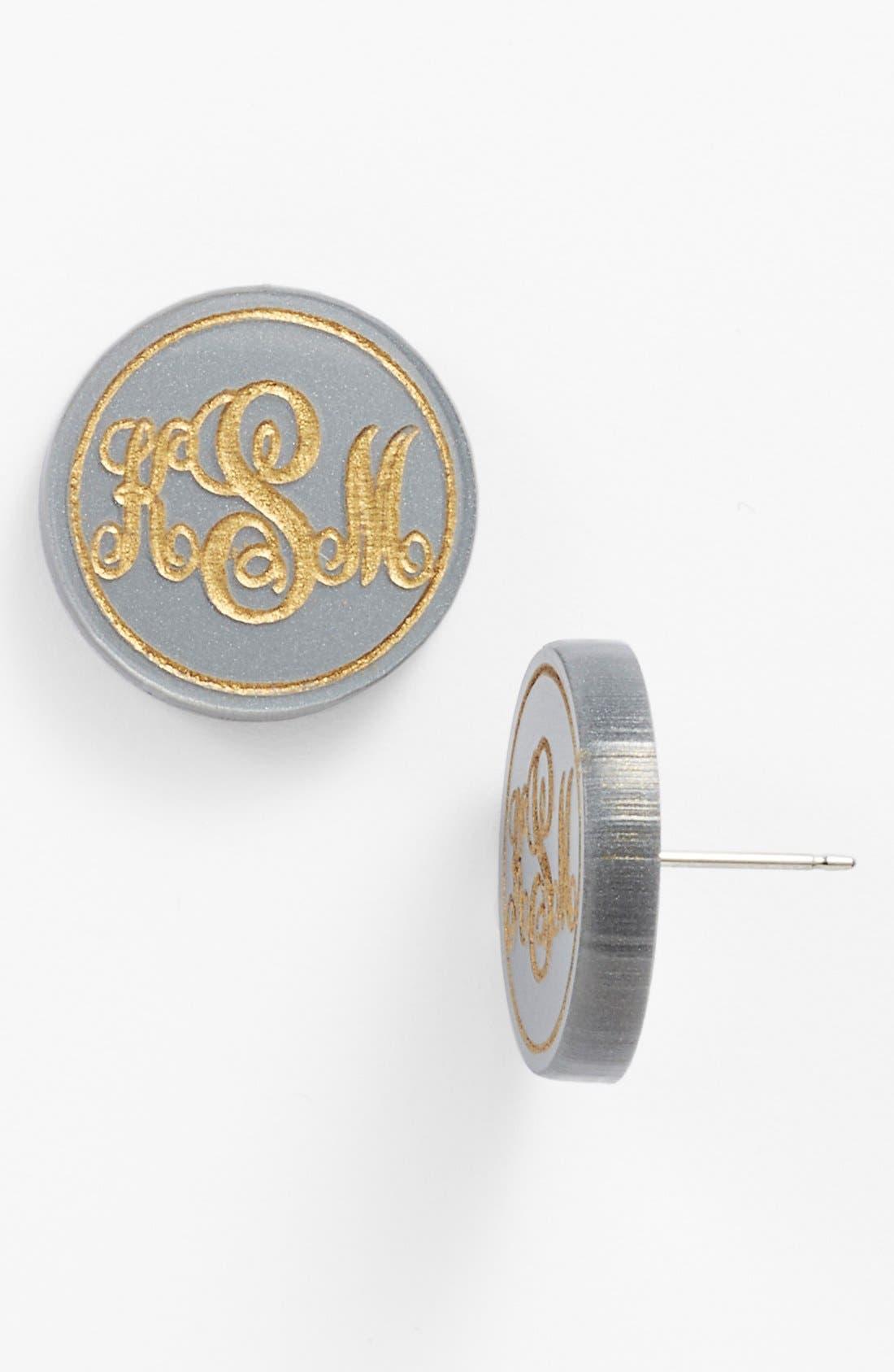 'Chelsea' Medium Personalized Monogram Stud Earrings,                             Main thumbnail 1, color,                             Gunmetal/ Gold