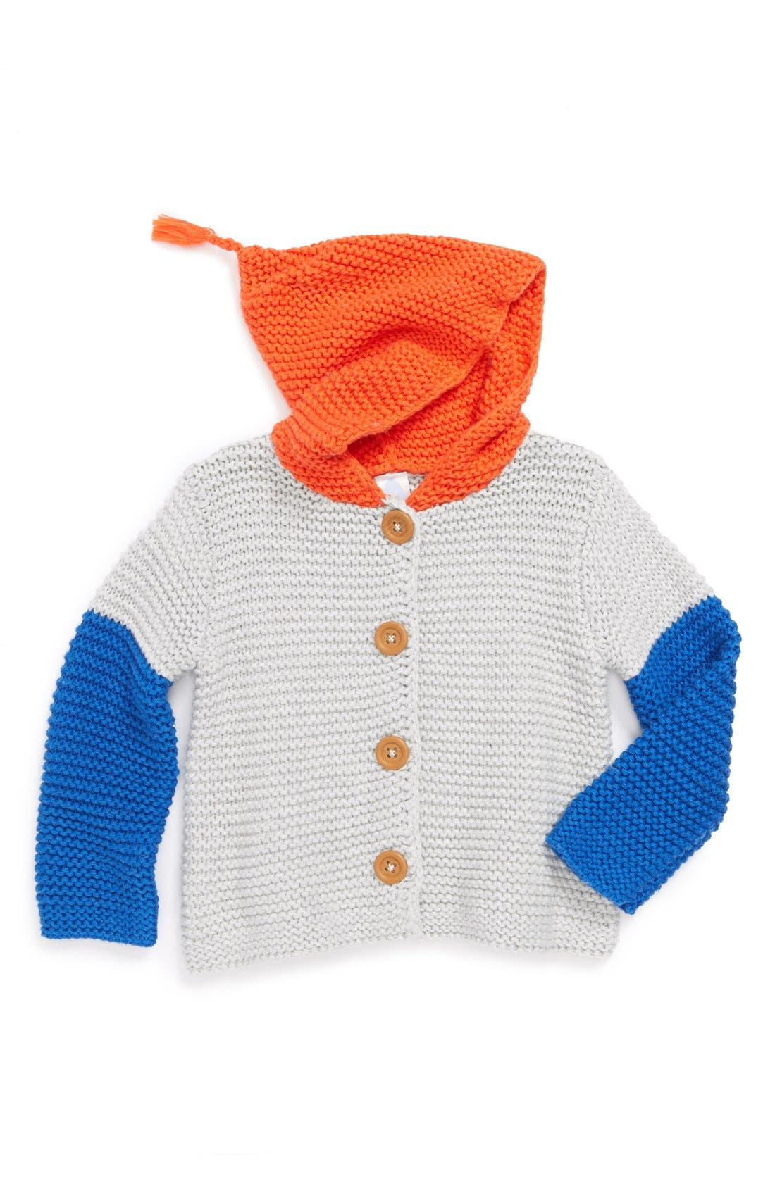 Main Image - Stem Baby Colorblock Organic Cotton Hooded Cardigan (Baby)