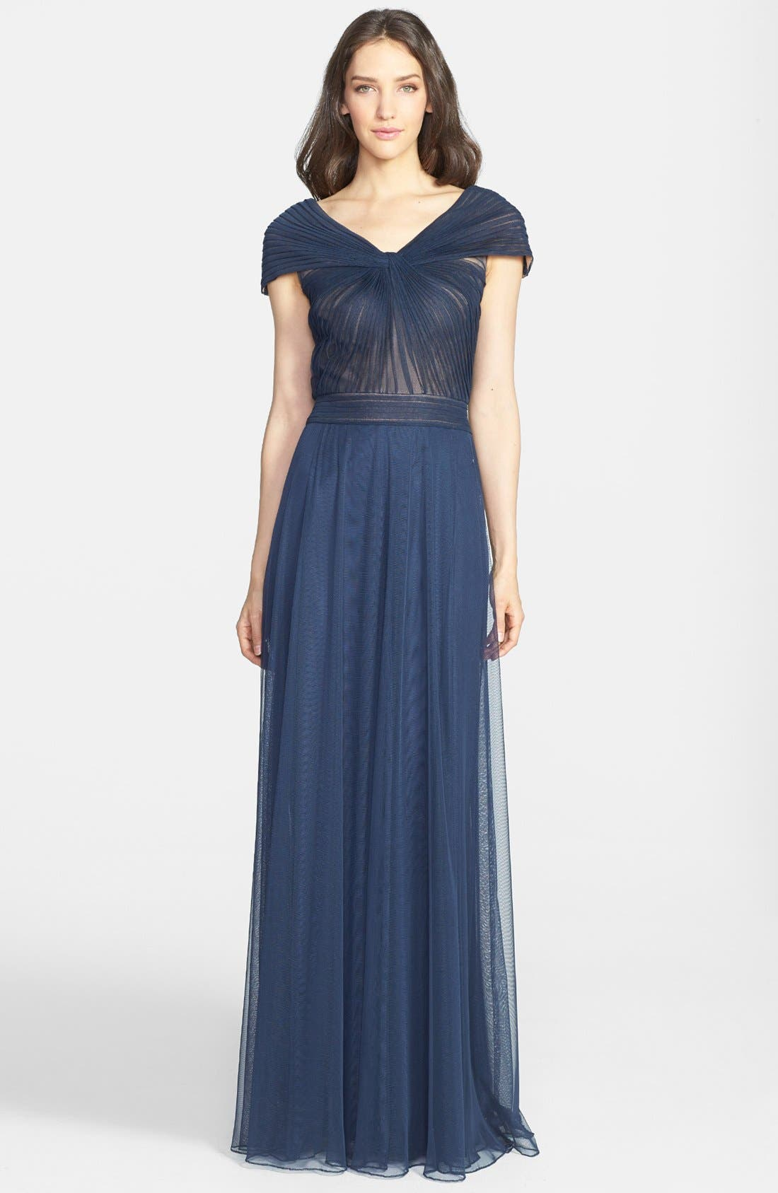 Portrait Collar Pleated Mesh Gown,                             Main thumbnail 1, color,                             Navy/ Navy