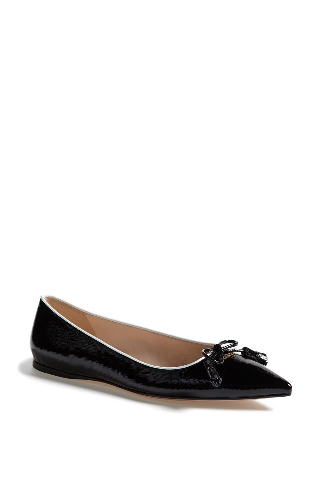 Main Image - Prada Pointed Toe Logo Ballet Flat