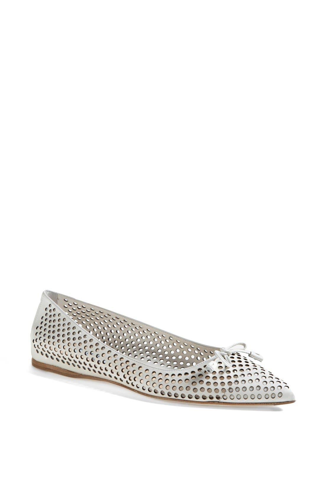 Main Image - Prada Pointed Toe Perforated Ballet Flat