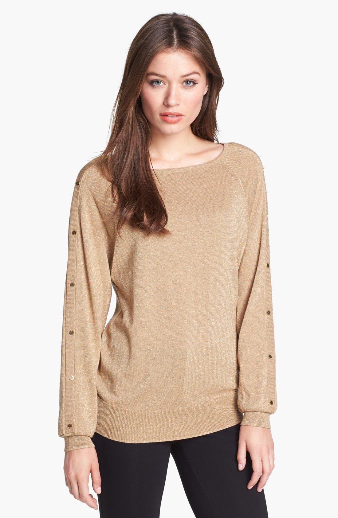 Main Image - MICHAEL Michael Kors Studded Sleeve Metallic Sweater (Petite)