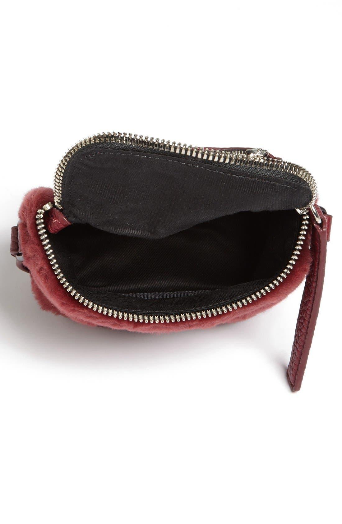 Alternate Image 3  - Kara 'Stowaway' Pebbled Leather & Genuine Shearling Crossbody Bag, Small