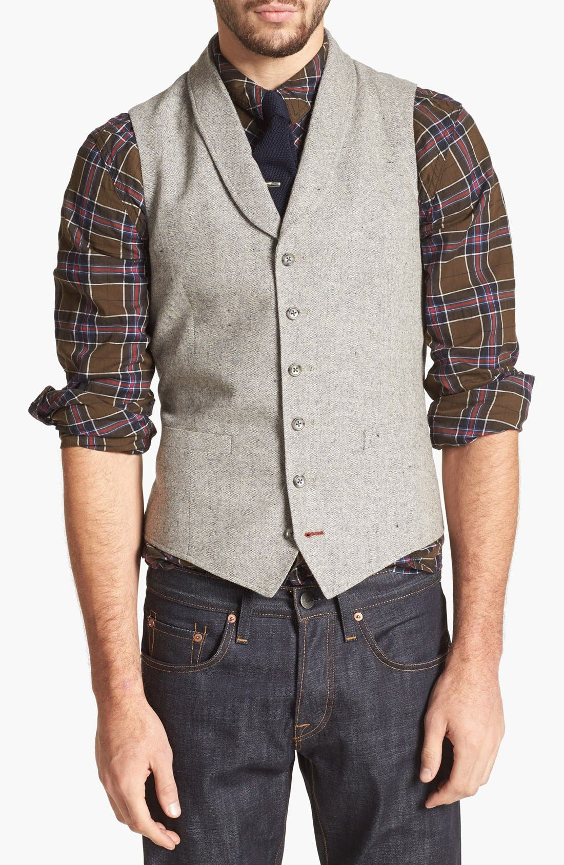 Main Image - 1901 Shawl Collar Grey Flannel Vest