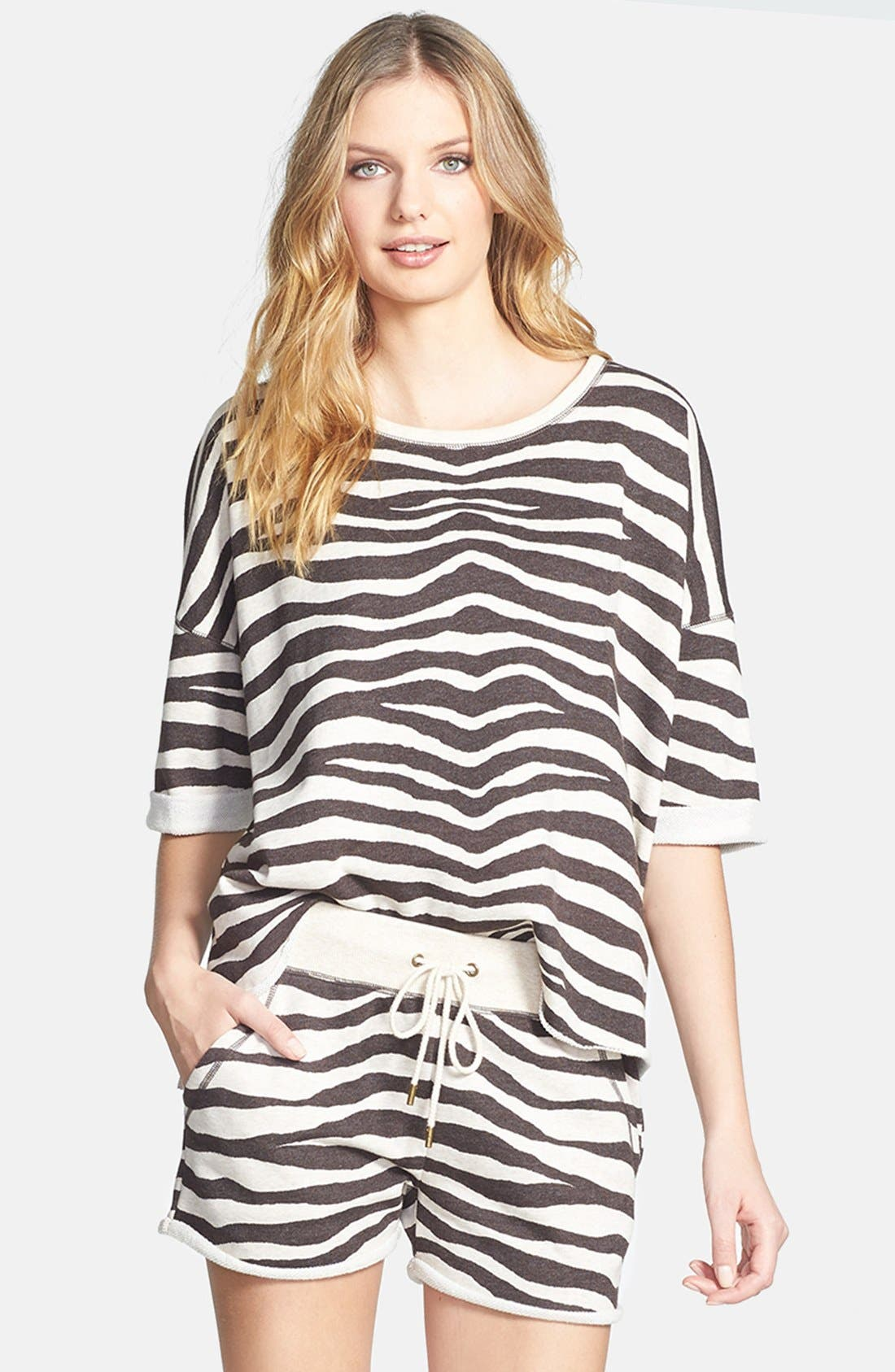 Main Image - MICHAEL Michael Kors Zebra Print Terry Crop Top