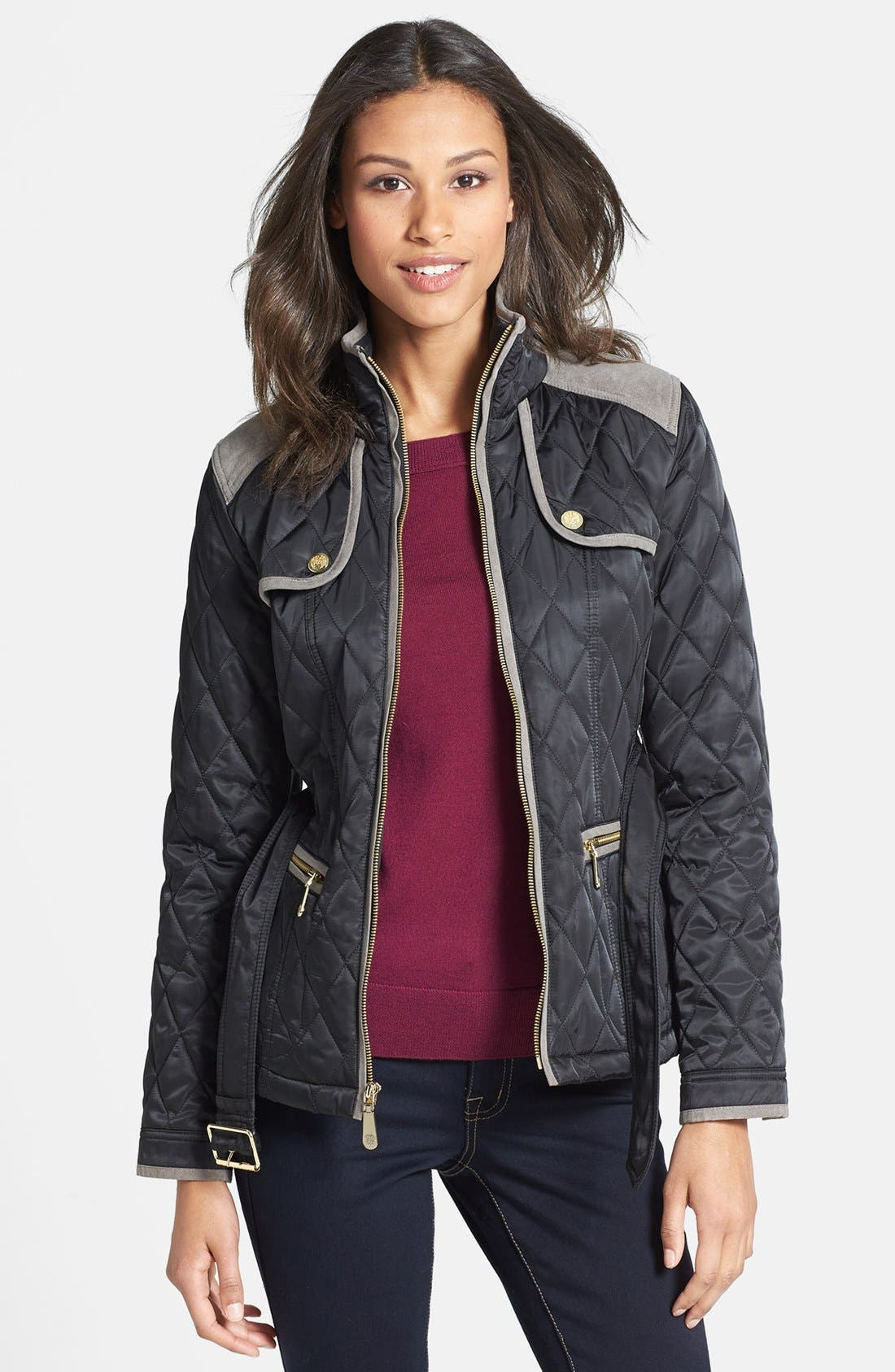 Alternate Image 1 Selected - Vince Camuto Belted Quilted Jacket