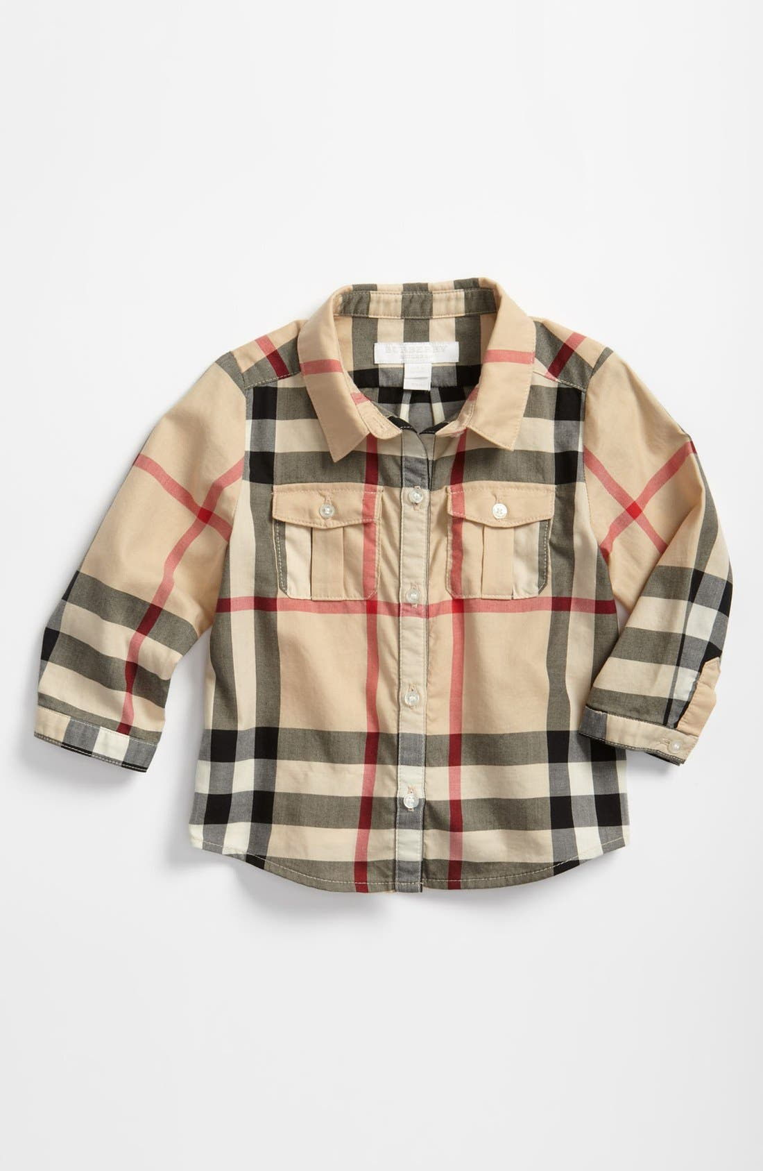 Alternate Image 1 Selected - Burberry Check Print Shirt (Baby Boys)