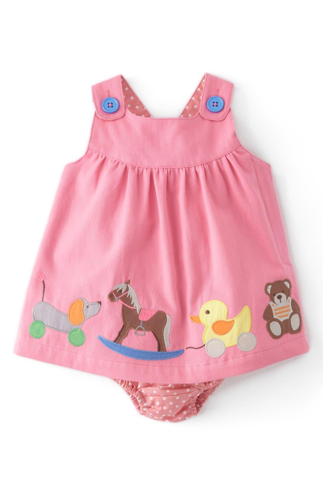 Main Image - Mini Boden Appliqué Button Strap Dress (Baby Girls)