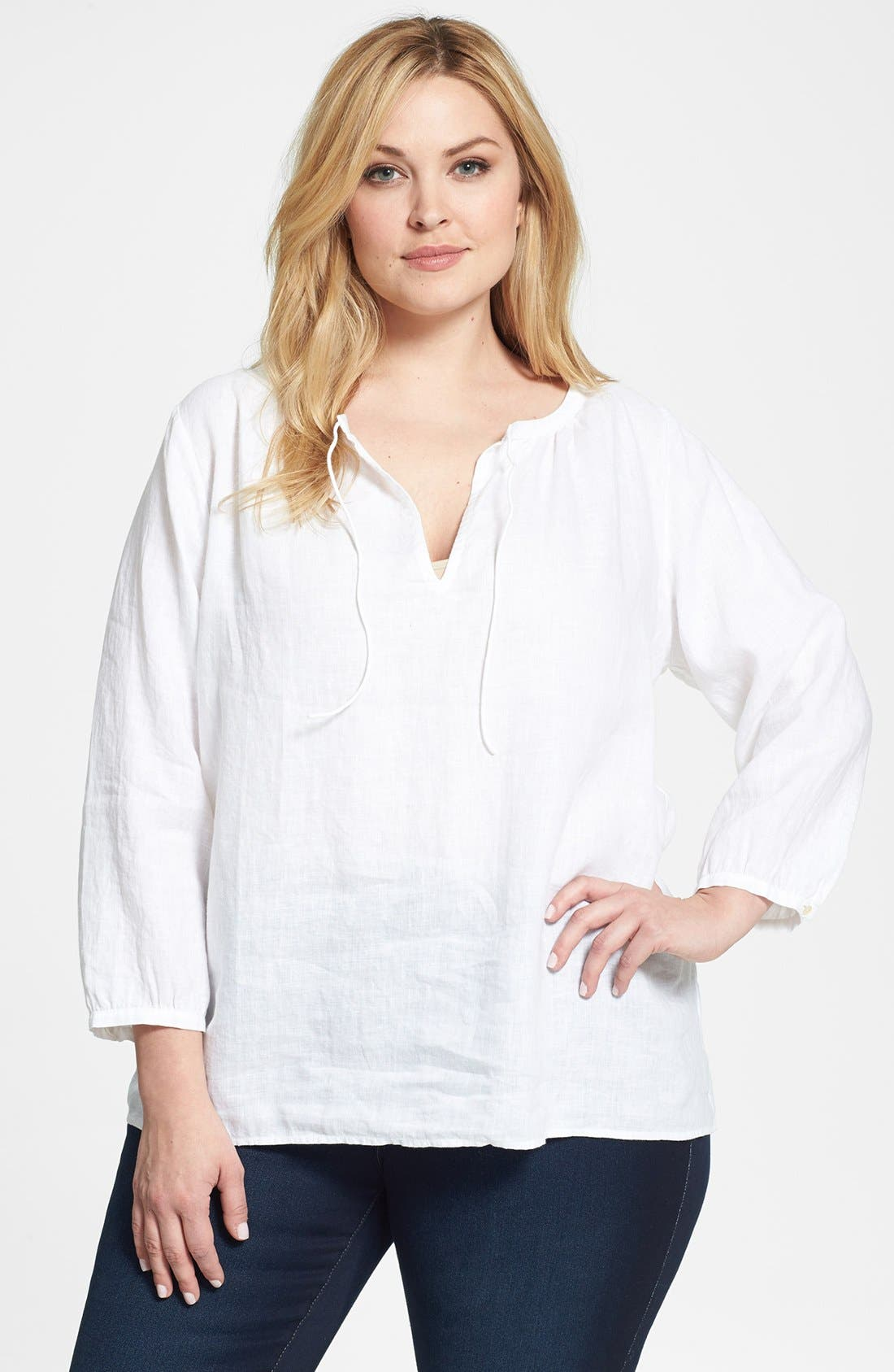 Alternate Image 1 Selected - Eileen Fisher Wide Neck Boxy Linen Top (Plus Size)