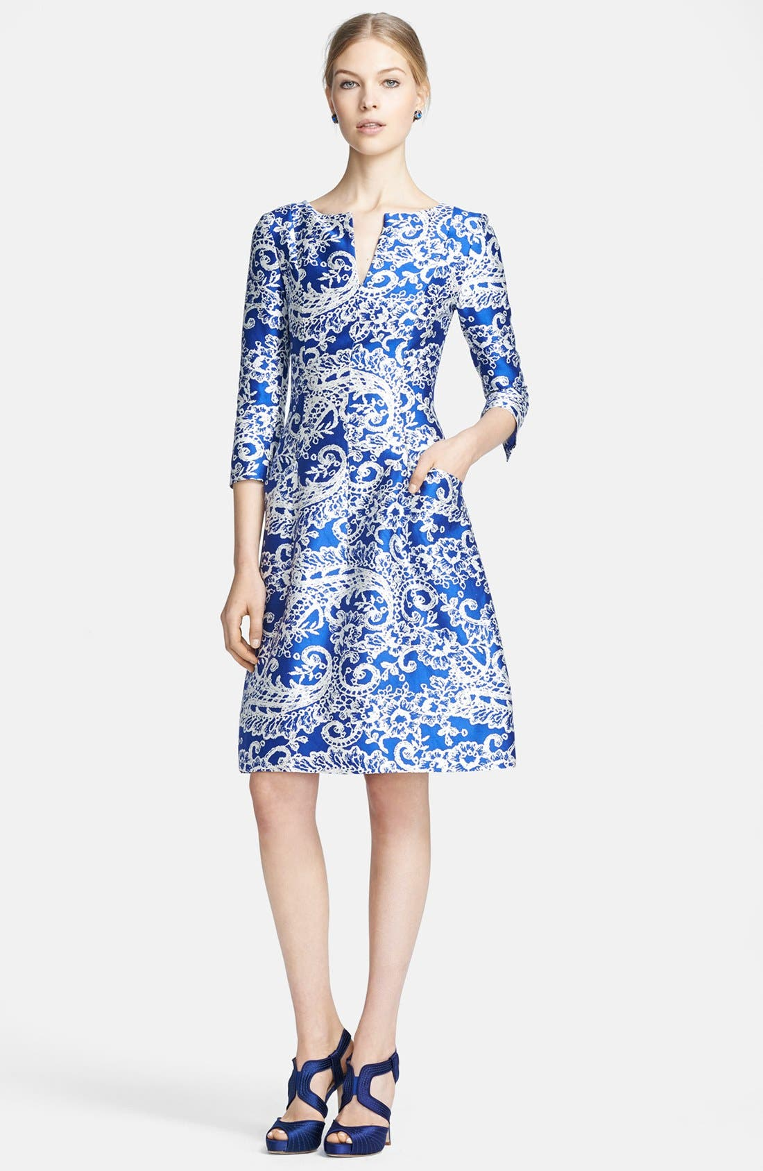 Alternate Image 1 Selected - Oscar de la Renta Print Silk & Cotton Dress