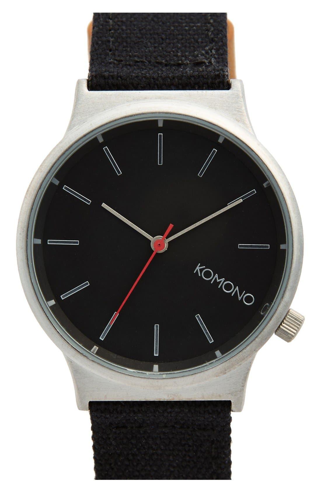 Alternate Image 1 Selected - Komono 'Wizard' Round Dial Strap Watch, 45mm