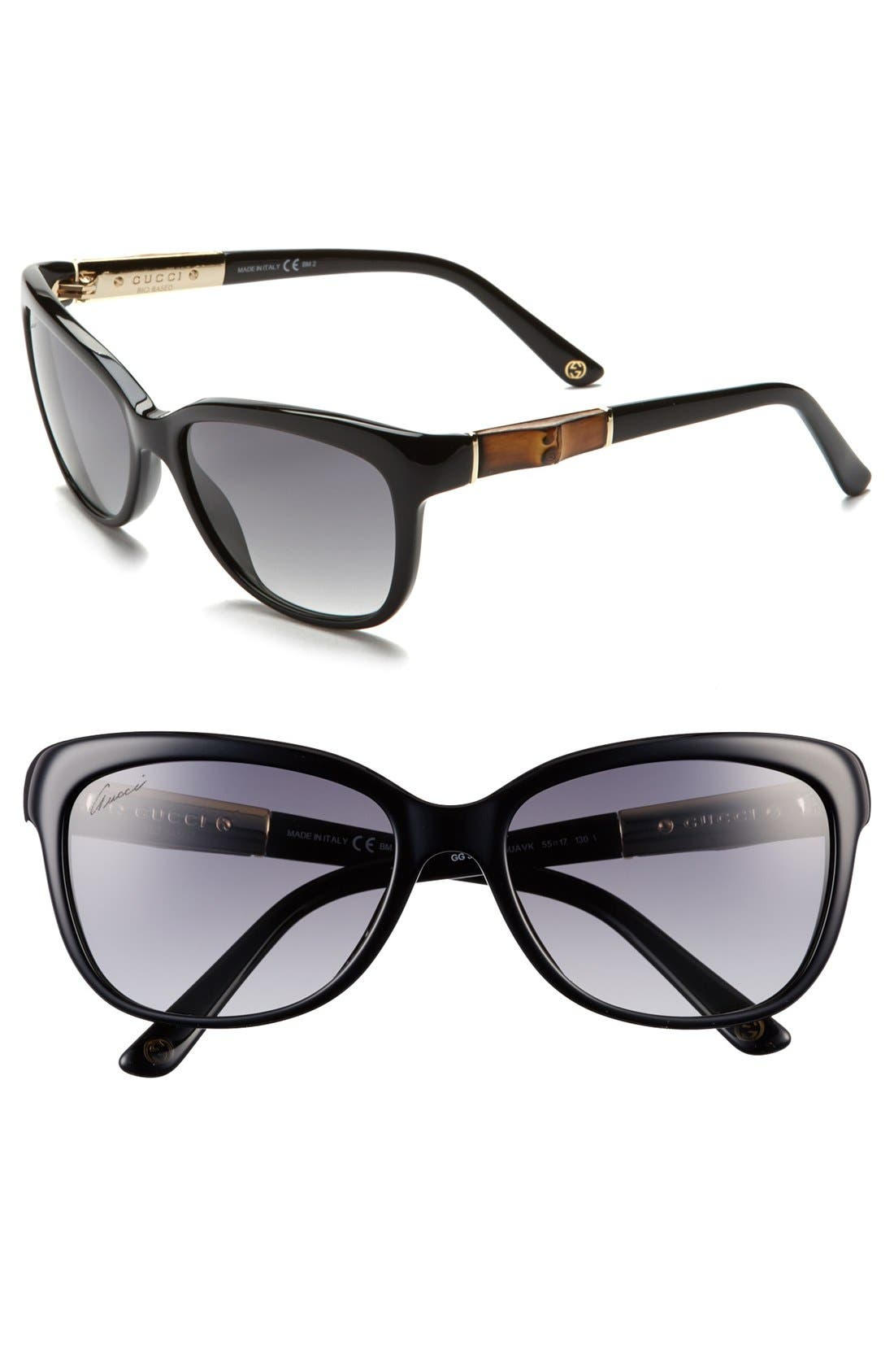 Main Image - Gucci 55mm Bamboo Temple Sunglasses