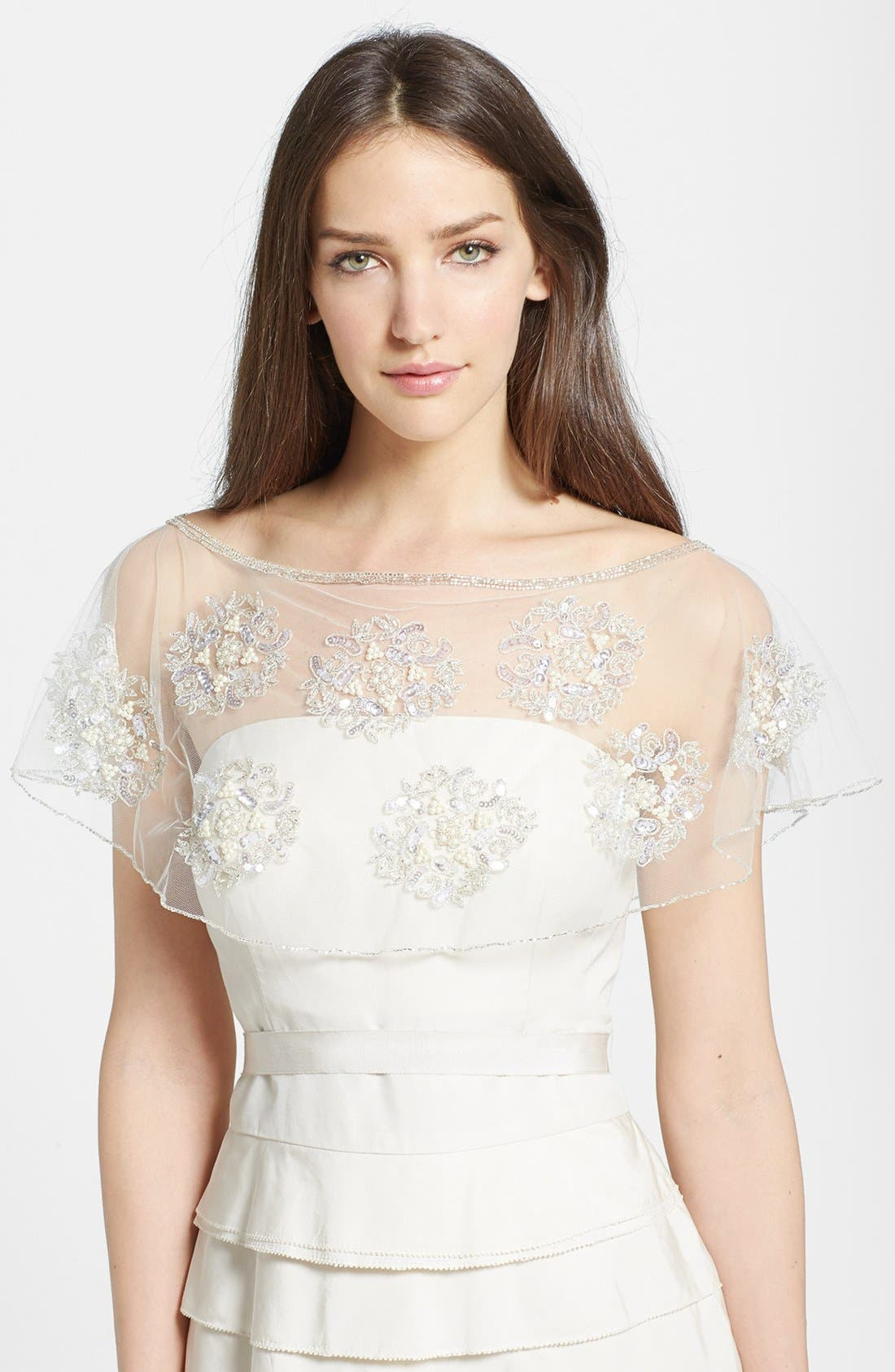 Embroidered Capelet,                         Main,                         color, Silver