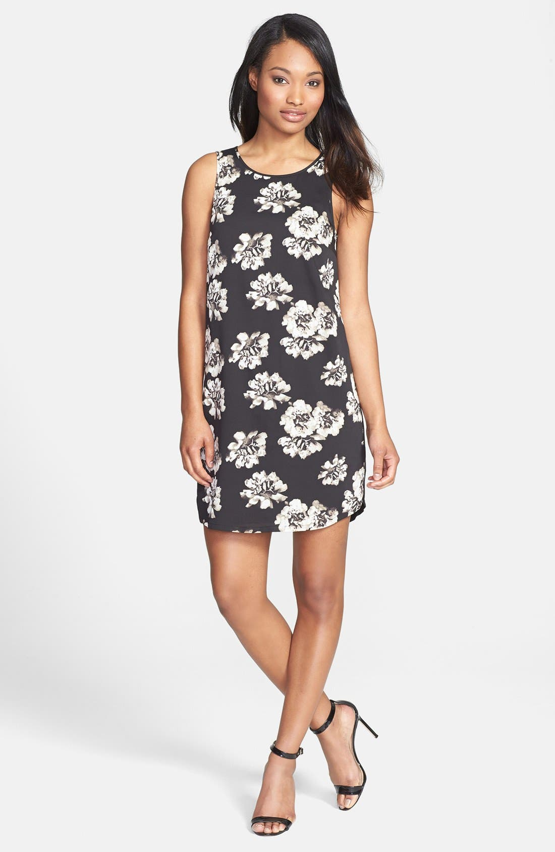 Main Image - kensie Floral Front Mixed Media Shift Dress