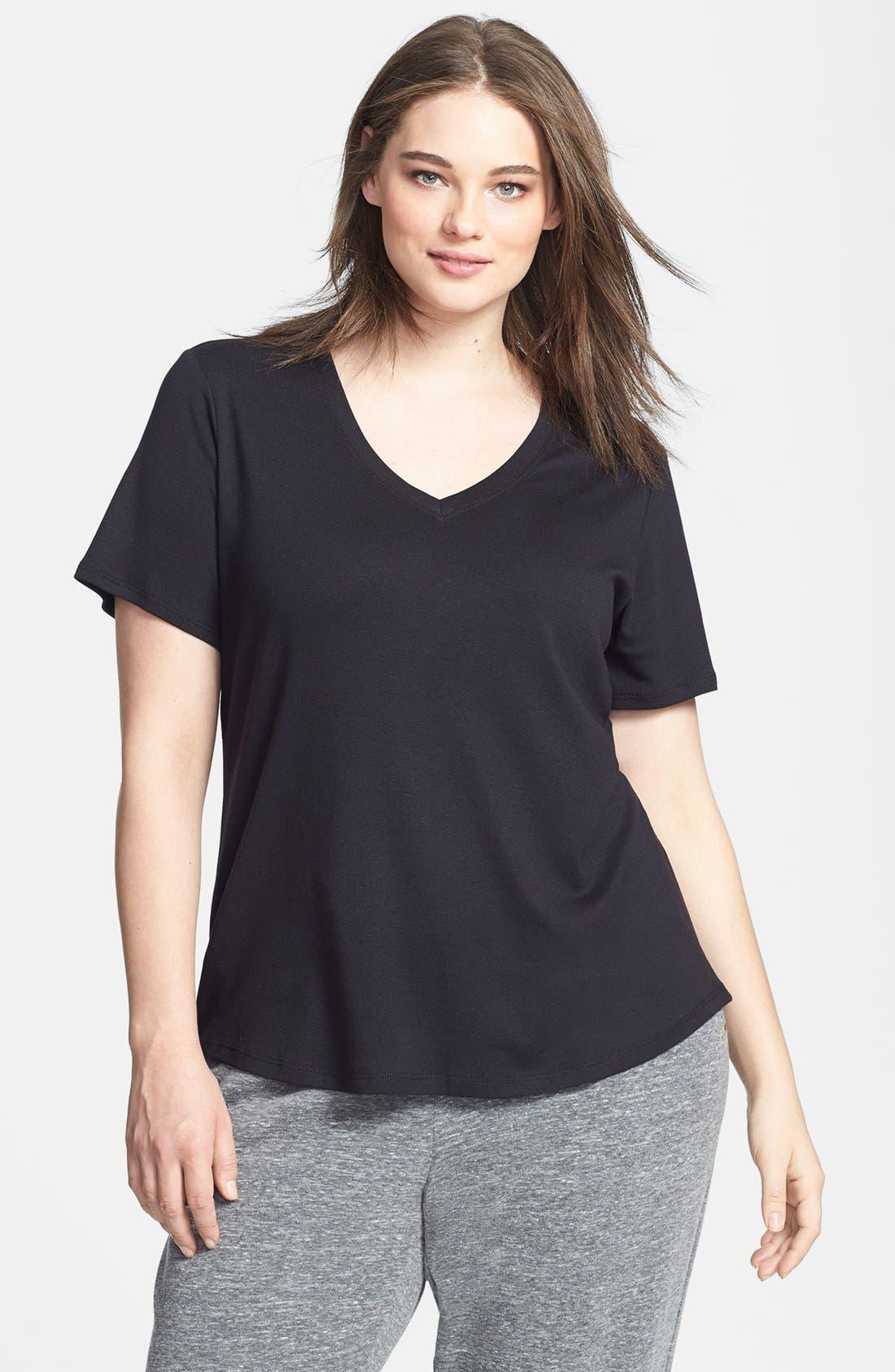Alternate Image 1 Selected - Sejour Short Sleeve V-Neck Tee (Plus Size)