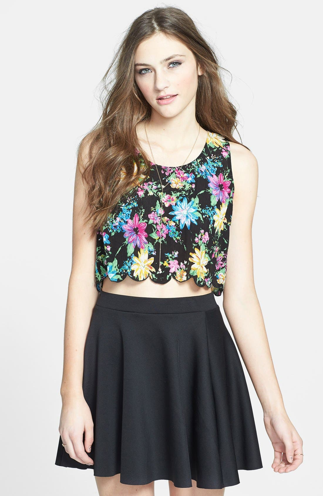 Alternate Image 1 Selected - Lush Scalloped Floral Crop Top (Juniors) (Online Only)