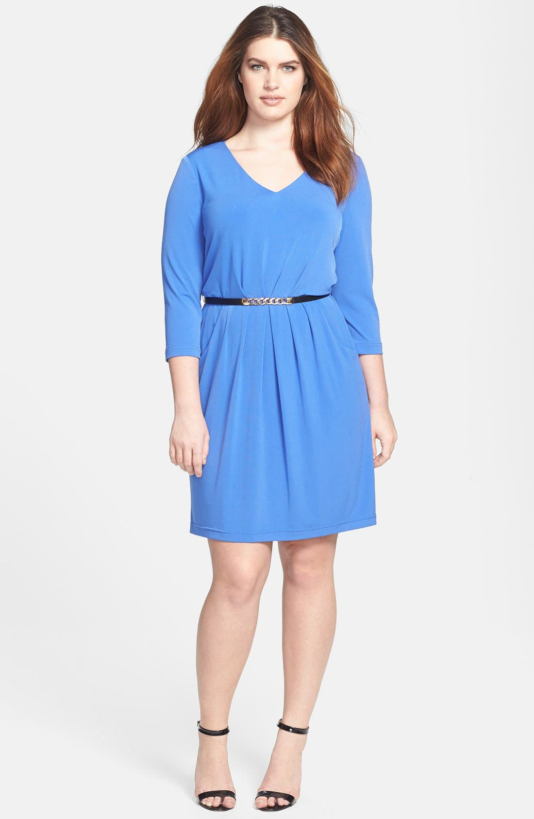 Alternate Image 1 Selected - Tahari by ASL Jersey A-Line Dress (Plus Size)