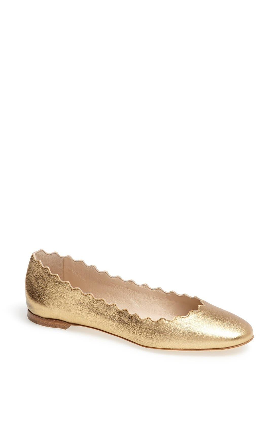 Alternate Image 1 Selected - Chloé 'Lauren' Scalloped Ballet Flat (Women)