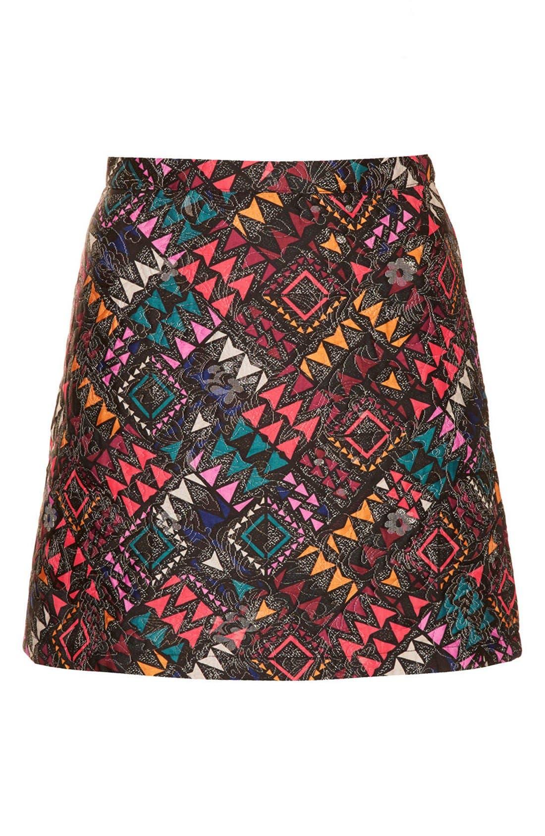Alternate Image 3  - Topshop Geo Print Quilted Miniskirt