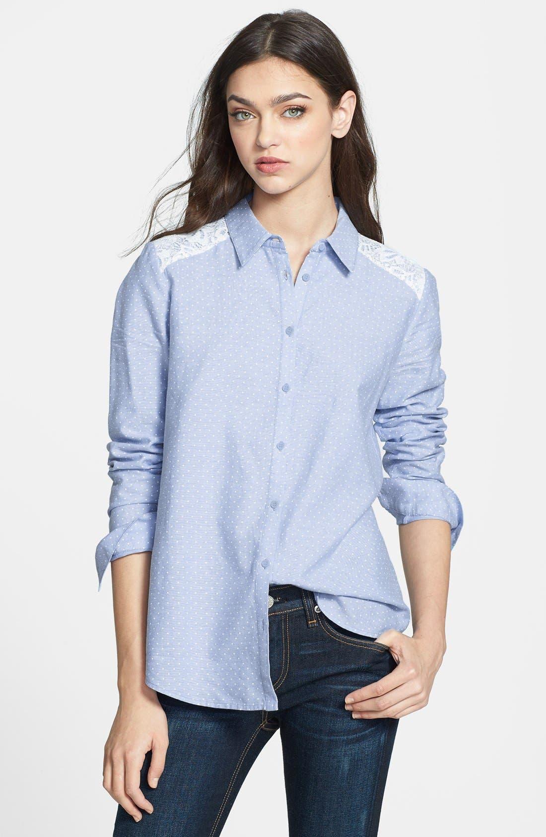 Main Image - Hinge® Lace Yoke Dot Print Shirt