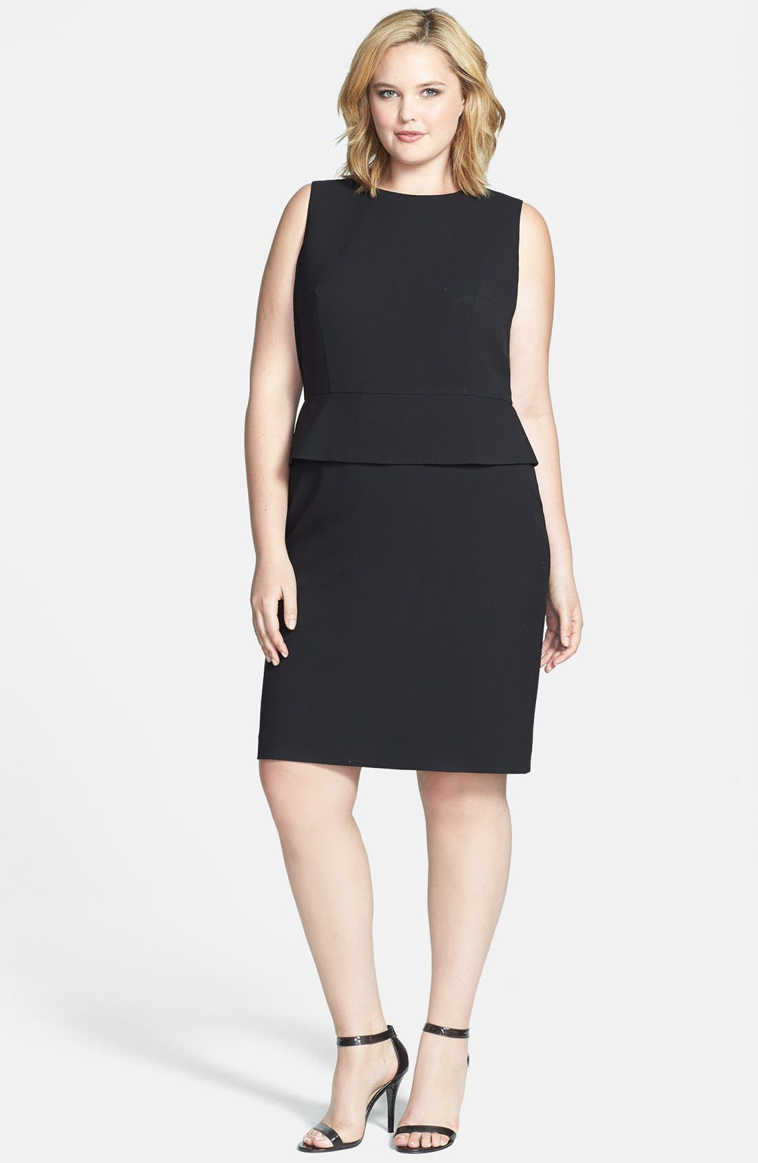 Alternate Image 1 Selected - Calvin Klein Peplum Sheath Dress (Plus Size)