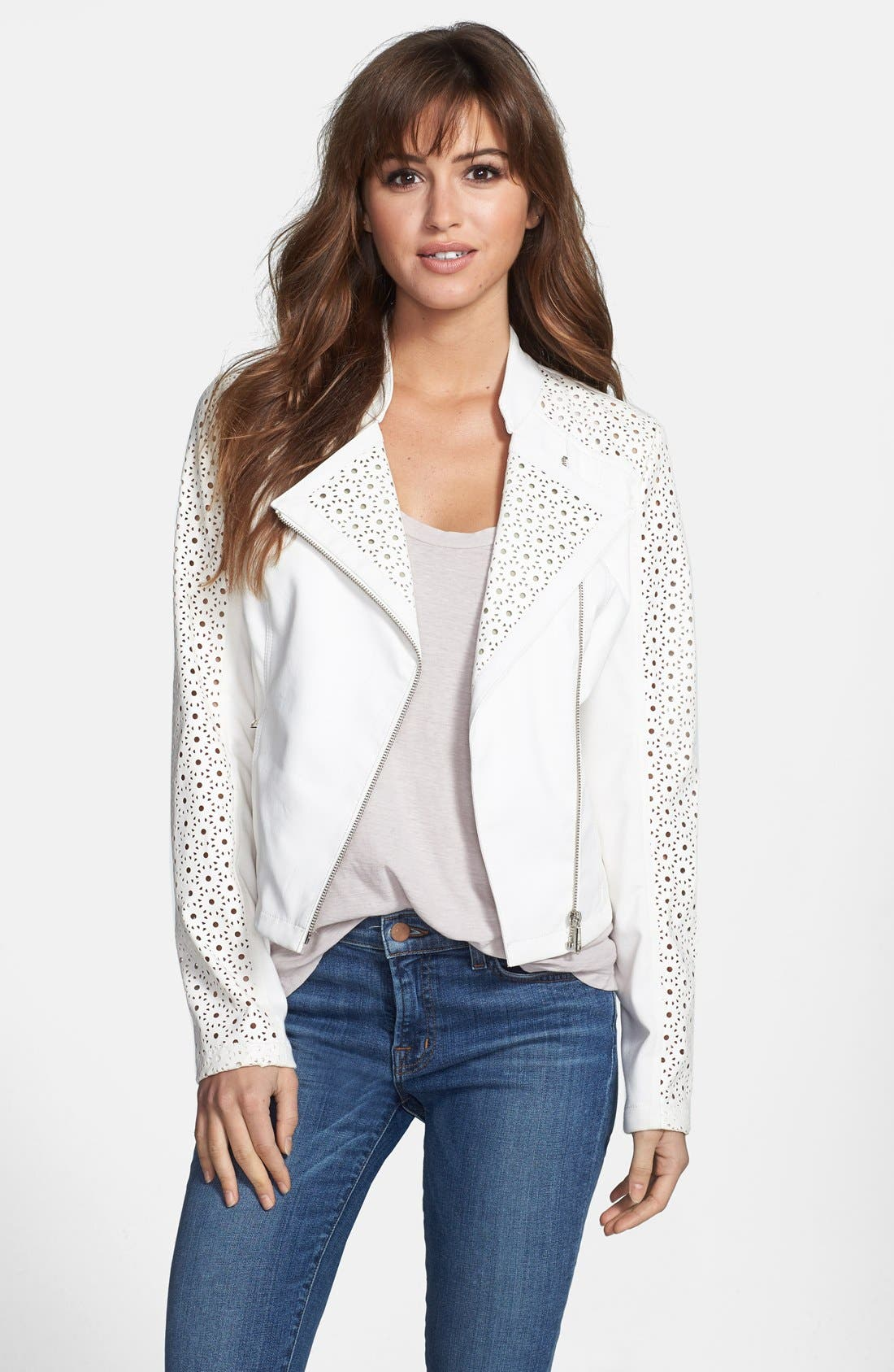 Perforated Sleeve Faux Leather Moto Jacket,                         Main,                         color, White