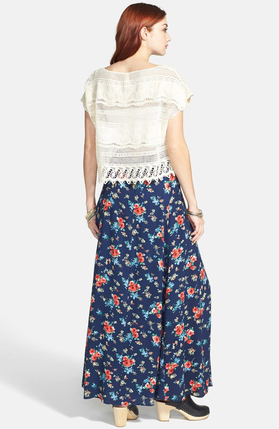 Alternate Image 2  - Lily White Floral Print Full Maxi Skirt (Juniors) (Online Only)