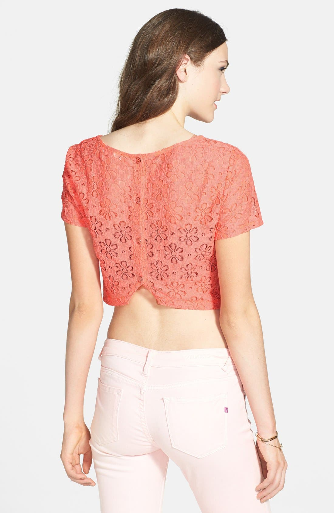 Alternate Image 2  - Lush Button Back Lace Crop Top (Juniors) (Online Only)