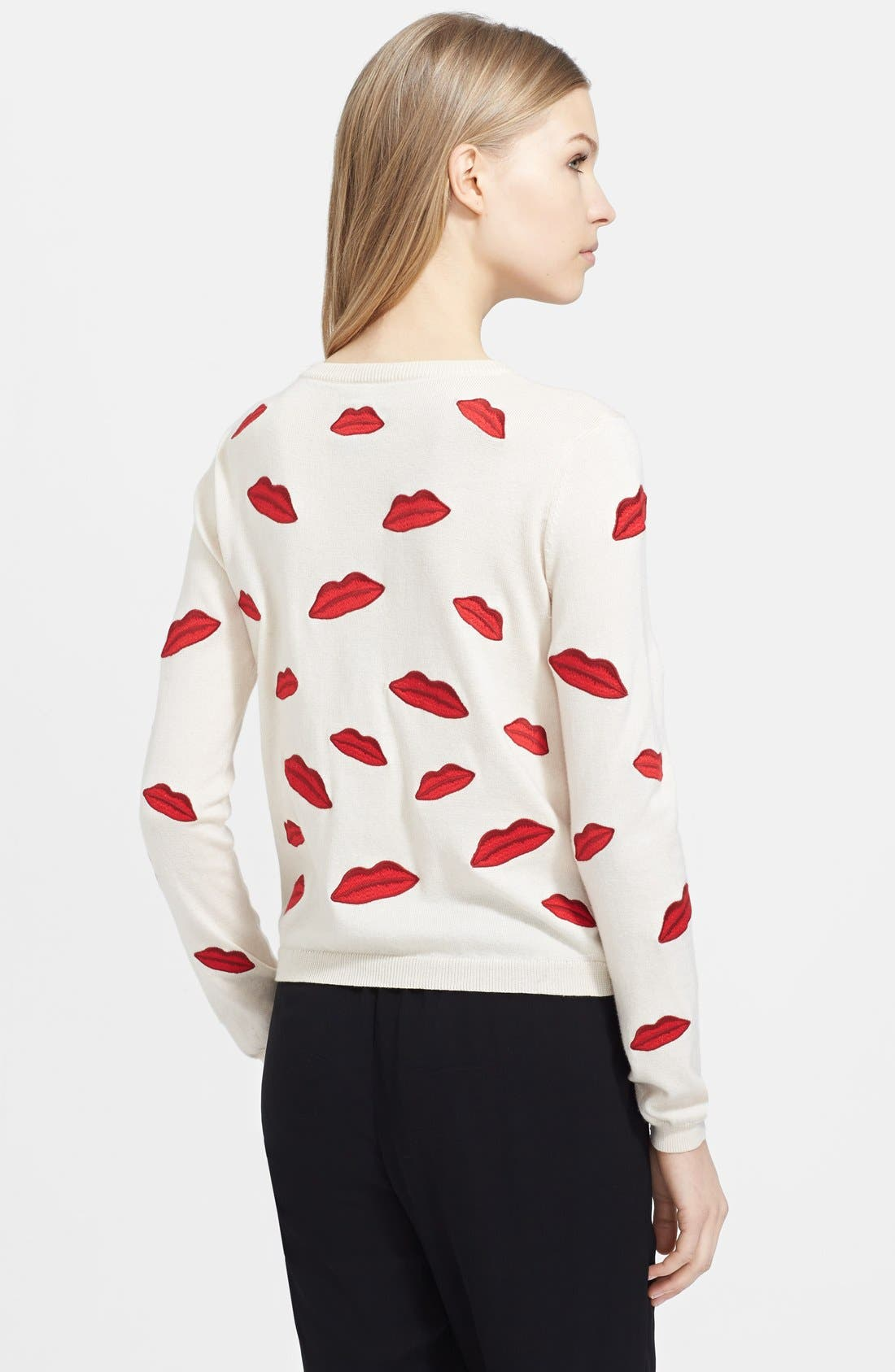 Alternate Image 2  - Alice + Olivia Embroidered Appliqué Cotton Cardigan