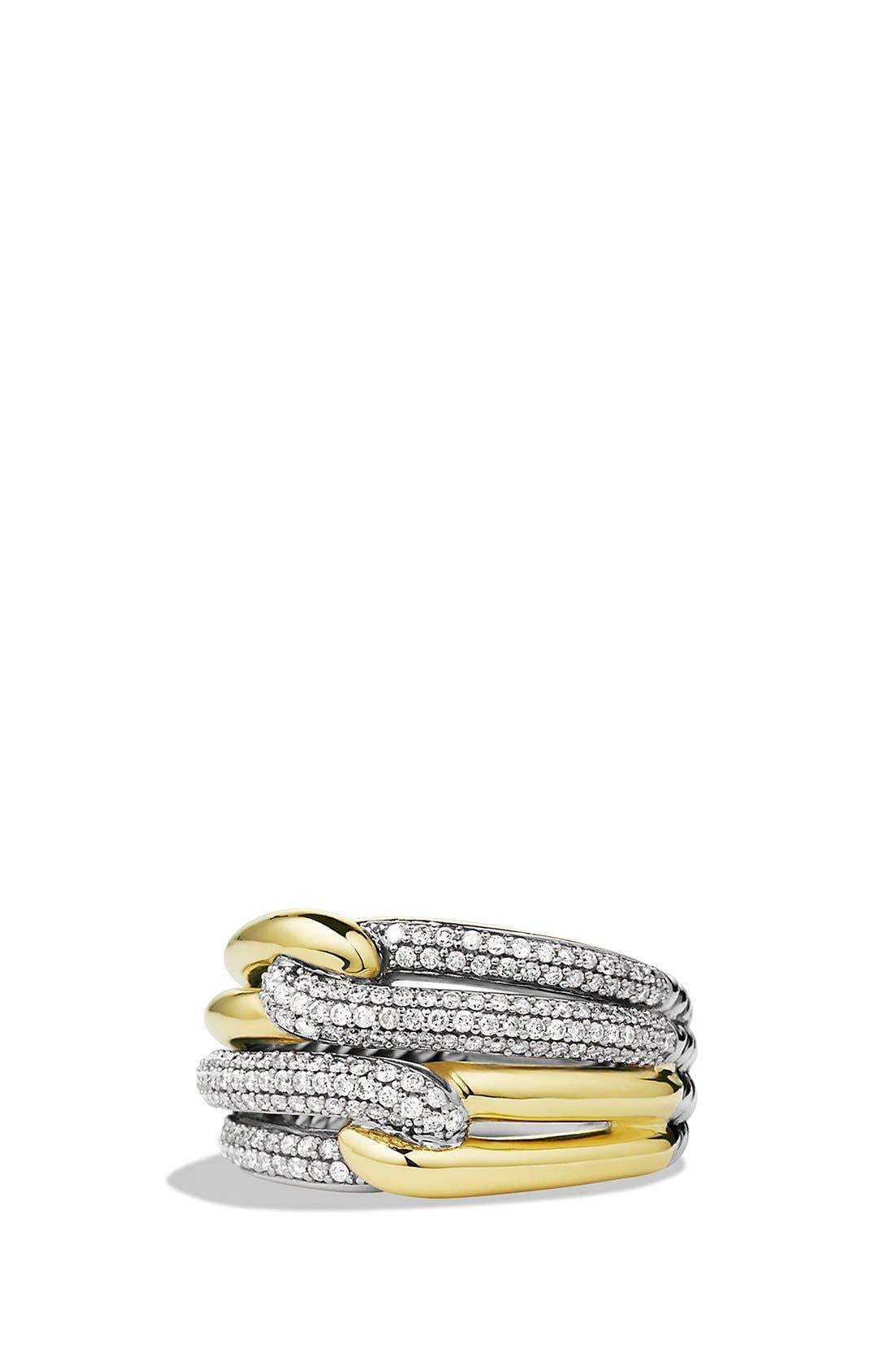 Main Image - David Yurman 'Labyrinth' Double Loop Ring with Diamonds and Gold