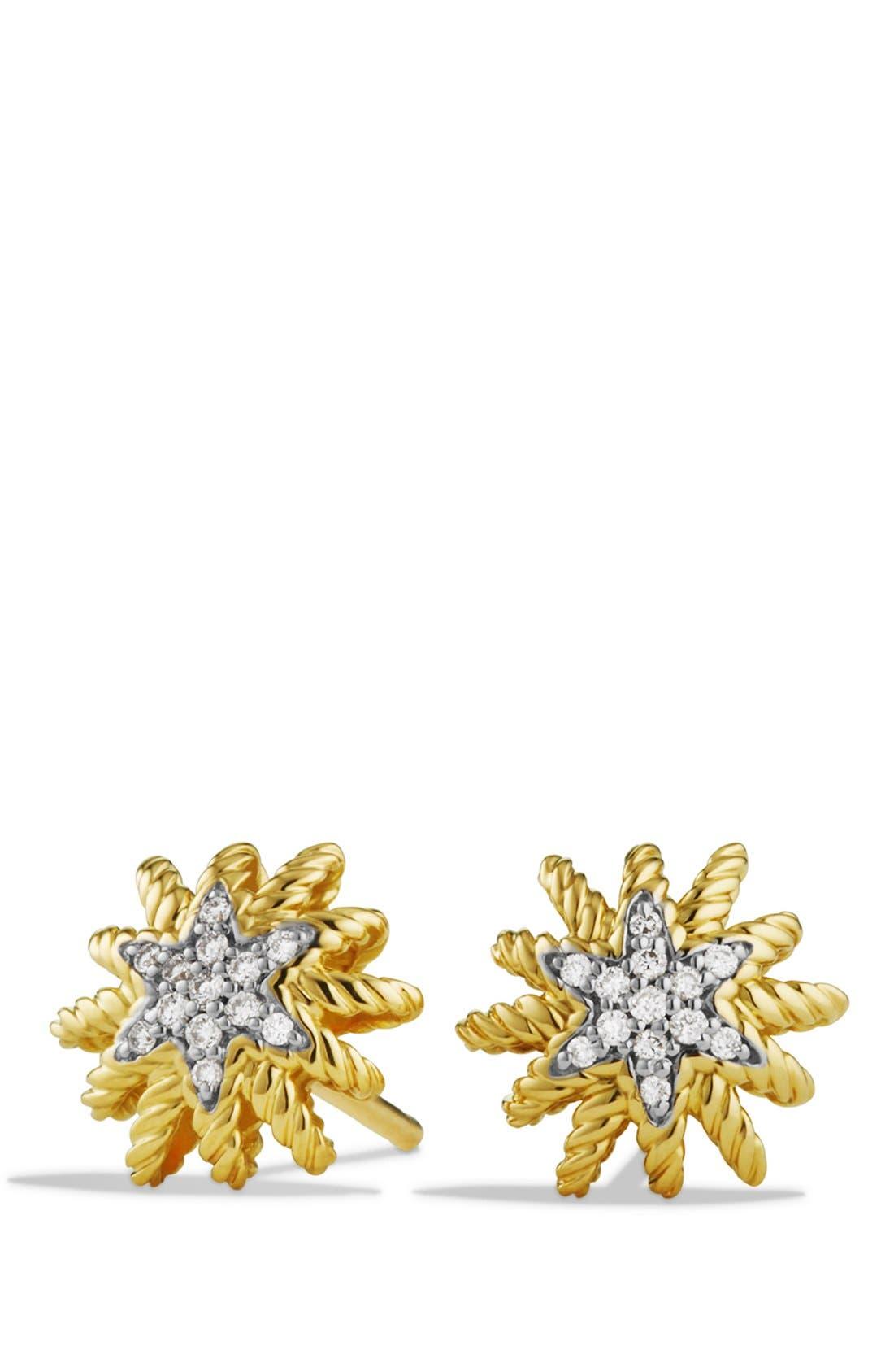 DAVID YURMAN Starburst Mini Earrings with Diamonds in Gold