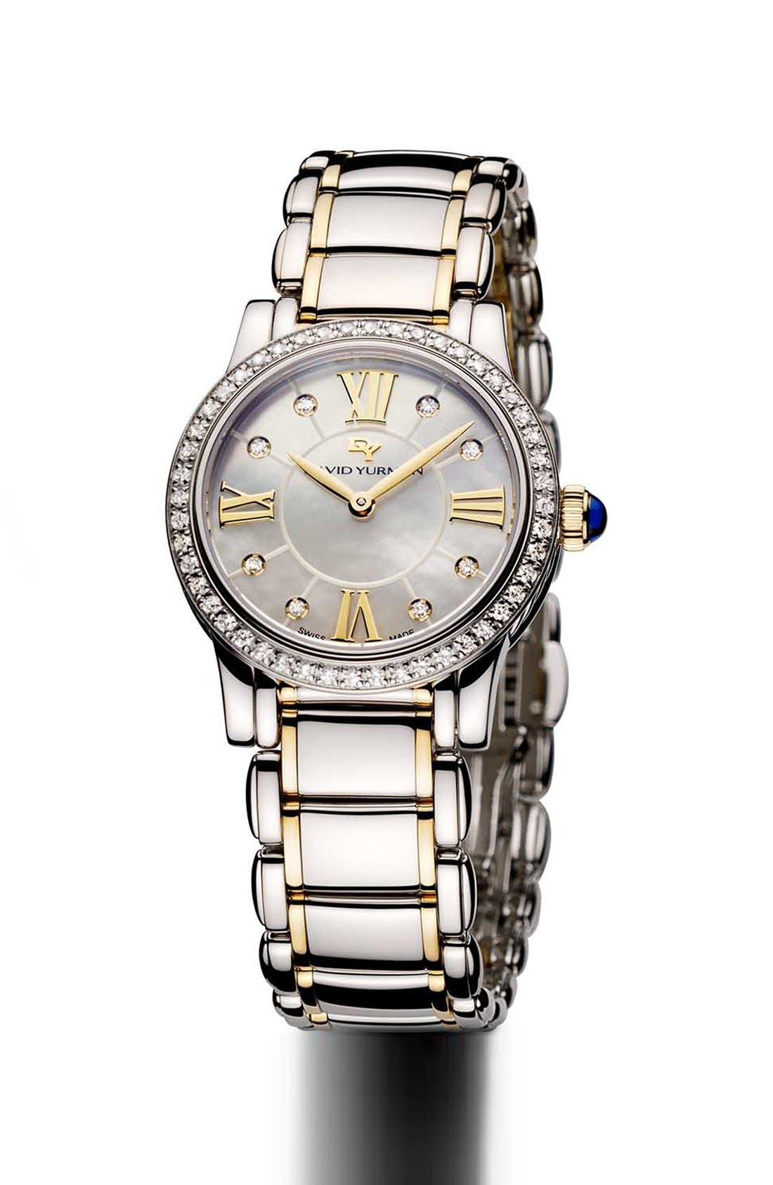 Alternate Image 1 Selected - David Yurman 'Classic' 30mm Stainless Steel Quartz with Diamond Bezel and Gold
