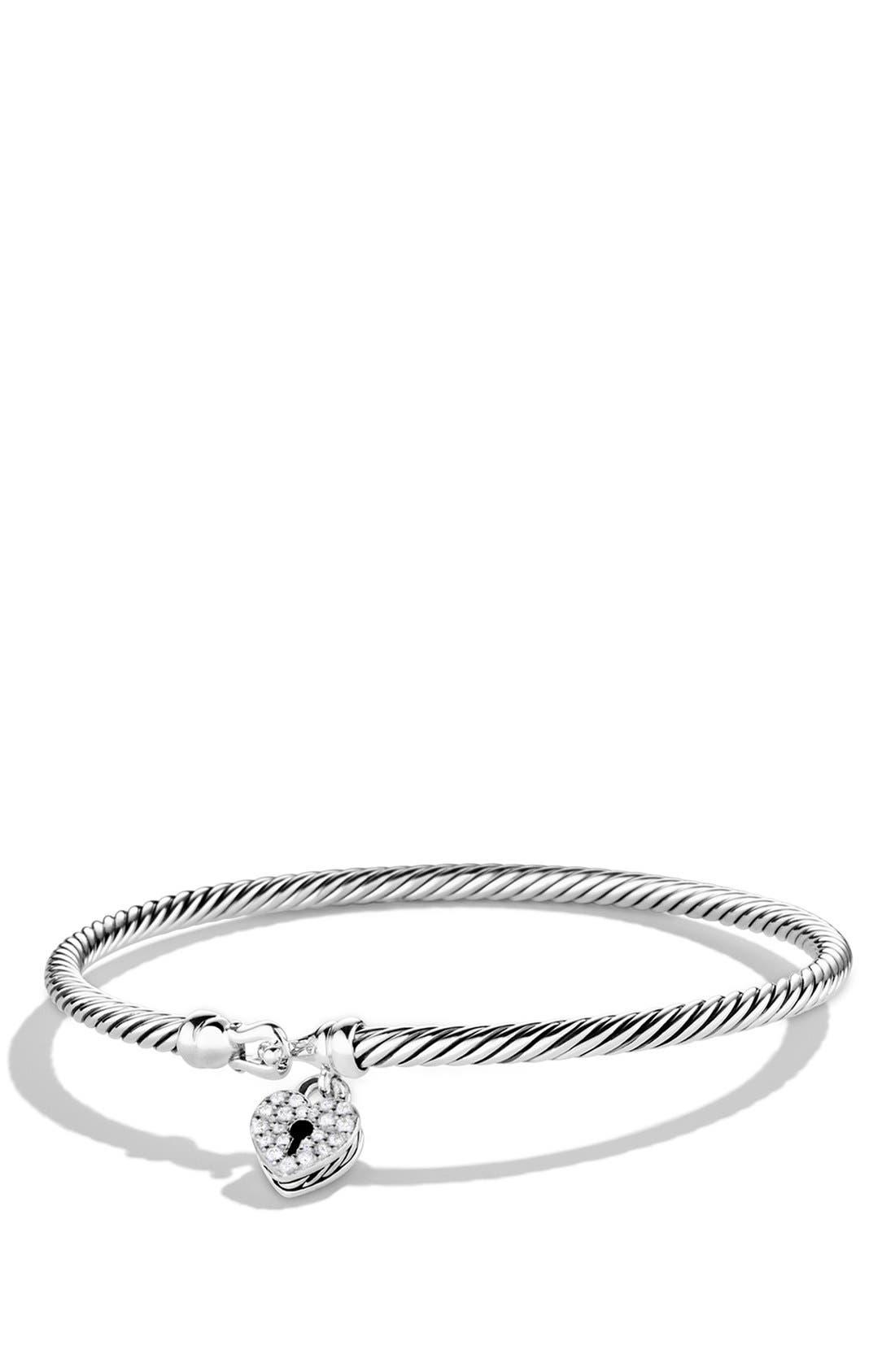 'Cable Collectibles' Heart Lock Bracelet with Diamonds,                             Main thumbnail 1, color,                             Diamond