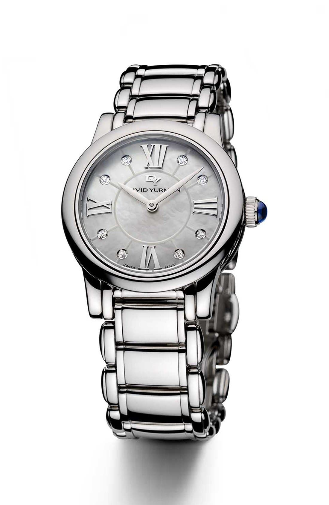 'Classic' Stainless Steel Quartz with Diamond Markers,                         Main,                         color, Stainless Steel