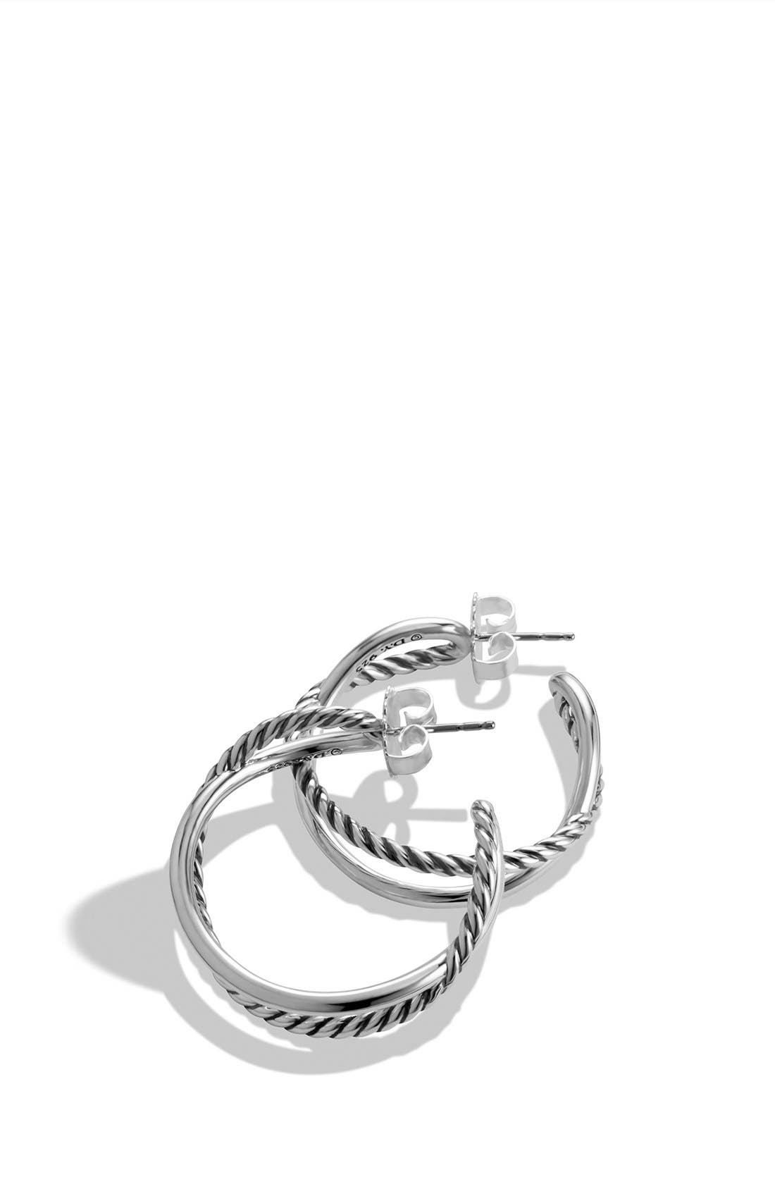 'Crossover' Hoop Earrings,                             Alternate thumbnail 2, color,                             Silver