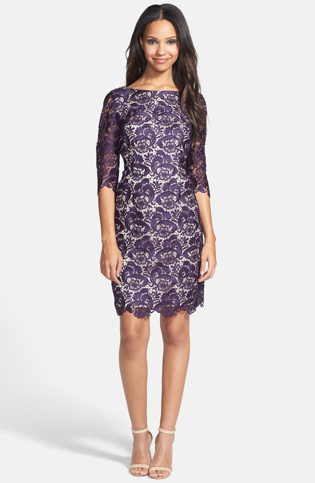 Alternate Image 3  - Eliza J Embroidered Lace Overlay Sheath Dress (Regular & Petite)