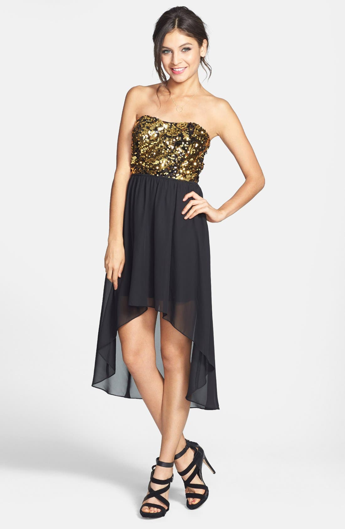 Alternate Image 1 Selected - Hailey Logan Sequin Bodice High/Low Dress (Juniors) (Online Only)