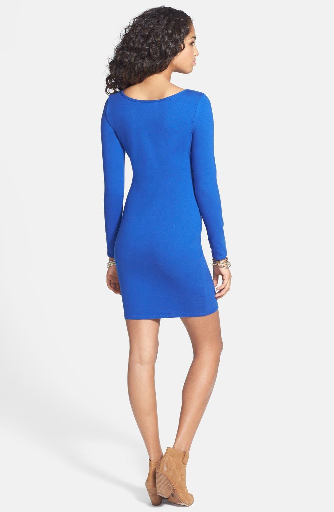 Alternate Image 2  - Socialite Long Sleeve Body-Con Dress (Juniors)