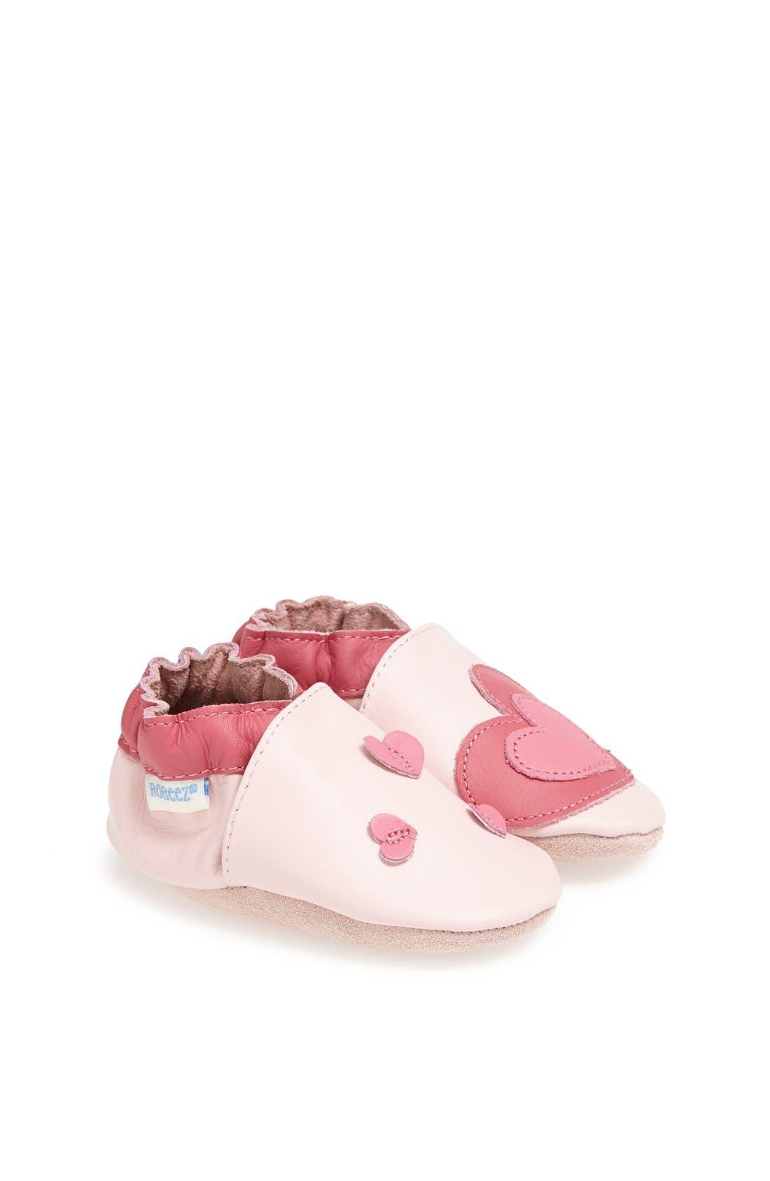 'Sweet Heart' Crib Shoe,                             Main thumbnail 1, color,                             Pink