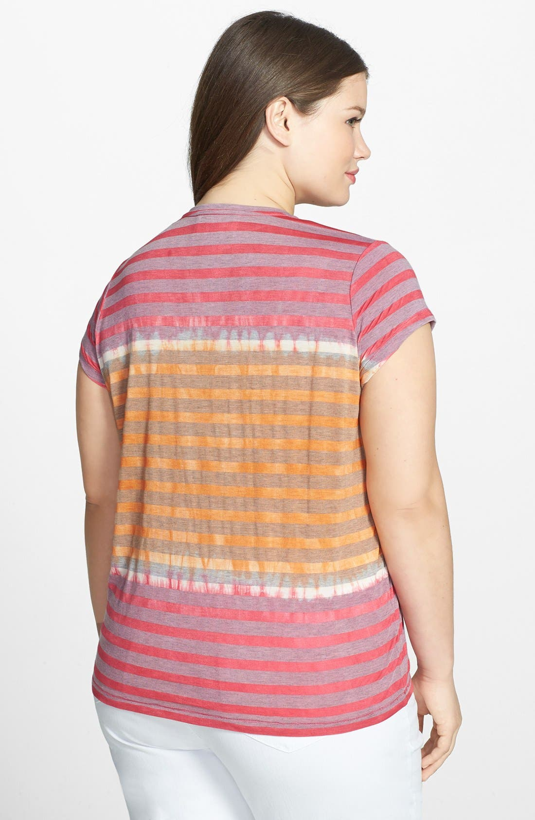 Alternate Image 2  - Two by Vince Camuto Stripe V-Neck Tee (Plus Size)
